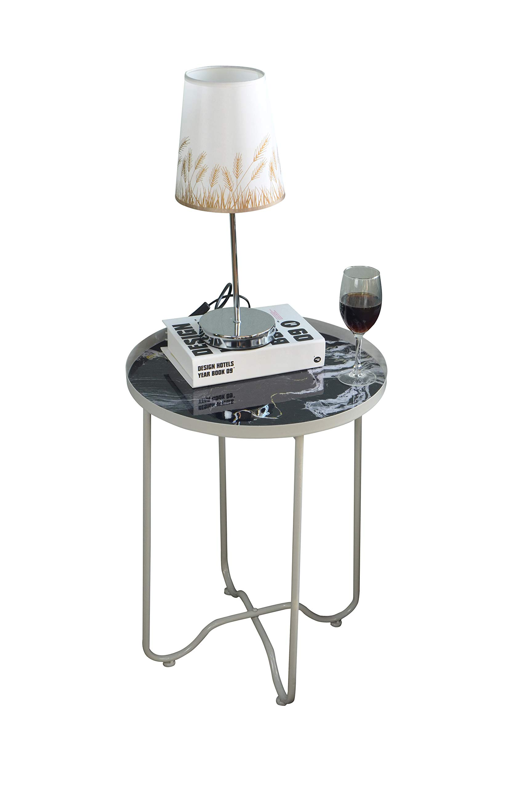Round Side Table,Metal End Table,Telephone Small Tables for Living Room, Accent Tables, Bedroom Furniture for Small Spaces,White Faux Marble,Grey & Black by AOJEZOR by AOJEZOR