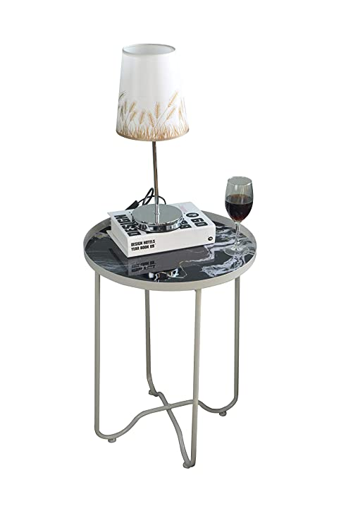 Round Side Table,Metal End Table,Telephone Small Tables for Living Room,  Accent Tables, Bedroom Furniture for Small Spaces,White Faux Marble,Grey &  ...