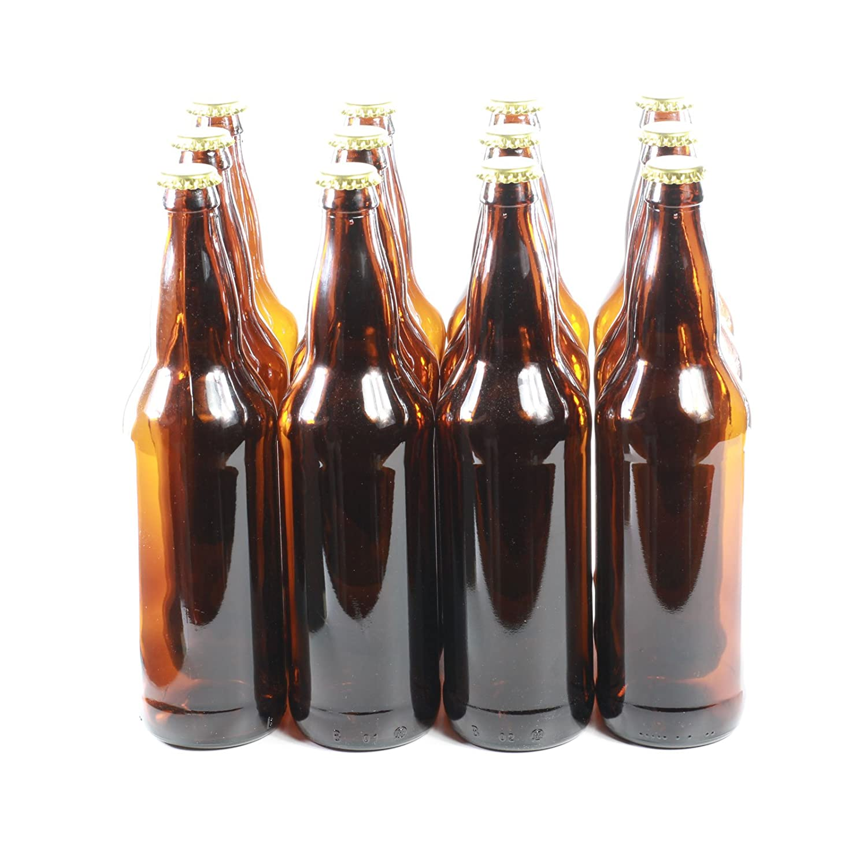 Brown Glass Beer Bottles Pack of 12 Gold Caps - Homebrew (650ml) GOLDBEARUK