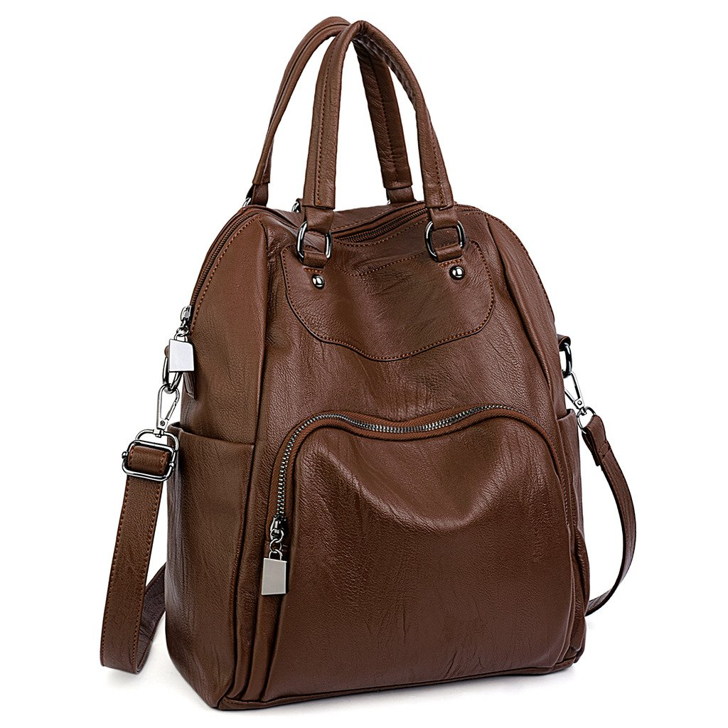UTO Women Backpack Purse PU Washed Leather Convertible Ladies Rucksack Crossbody Shoulder Bag Brown