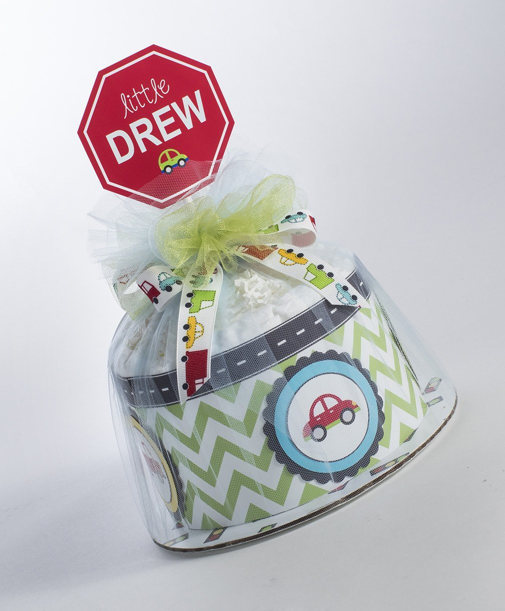 Cars and Trucks Mini Diaper Cake. Baby Shower Centerpiece or Gift