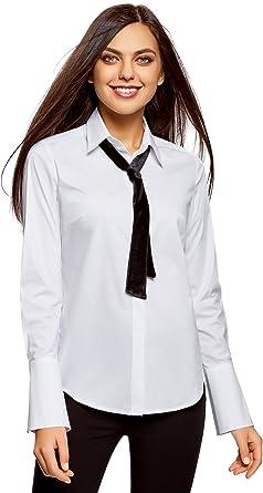 oodji Ultra Mujer Camisa con Puños Acampanados y Lazos Decorativos