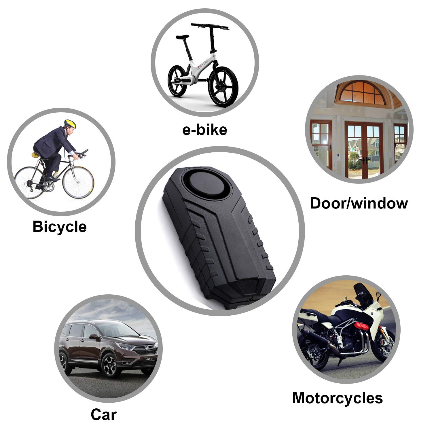 Anti-Theft for Bike Motorcycle Car Vehicles with Remote Control Pack of 1 Lancoon Bicycle Alarm 113 db Super Loud