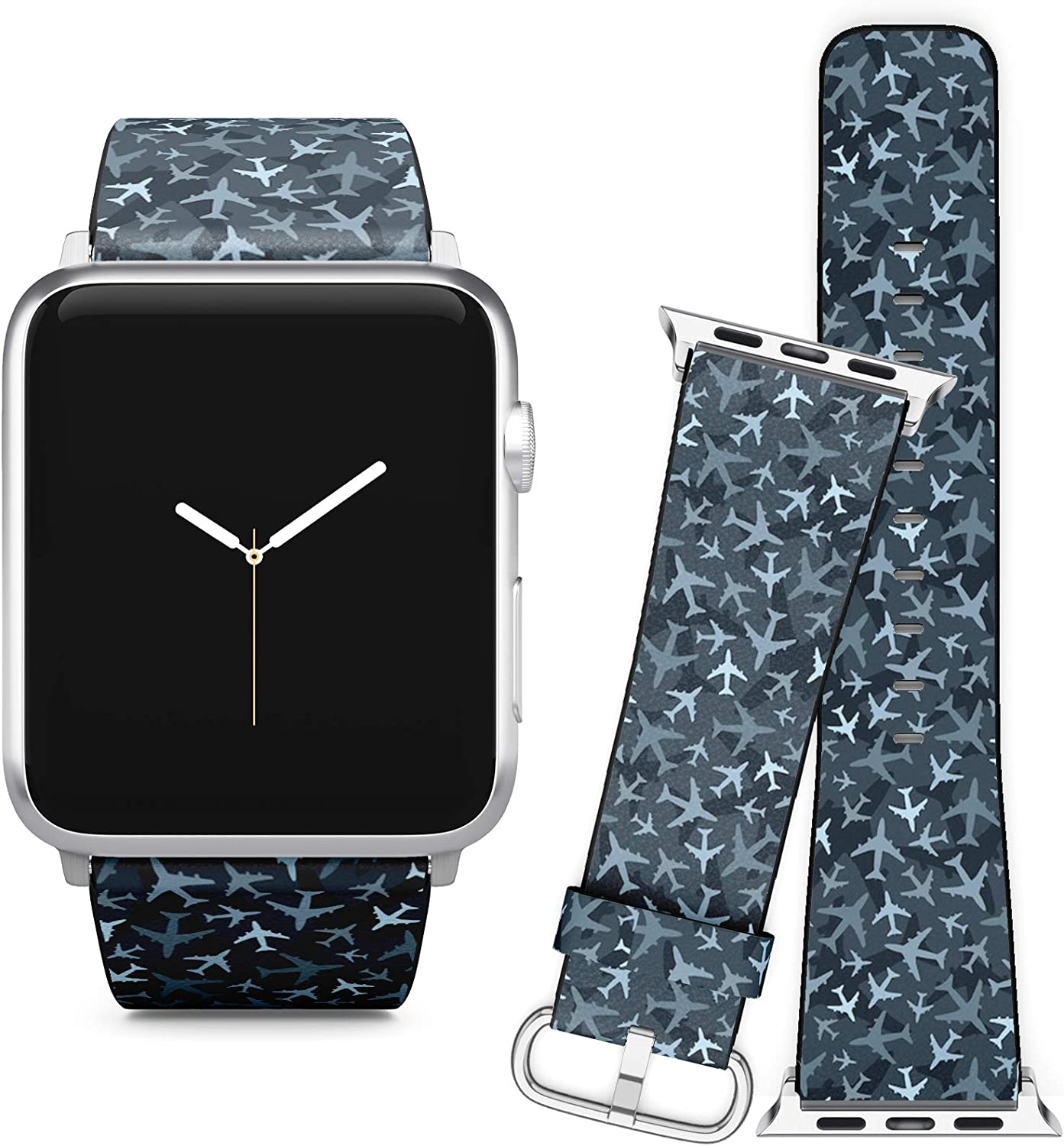 Compatible with Apple Watch iWatch (42/44 mm) Series 5, 4, 3, 2, 1 // Soft Leather Replacement Bracelet Strap Wristband + Adapters // Airplanes Dark