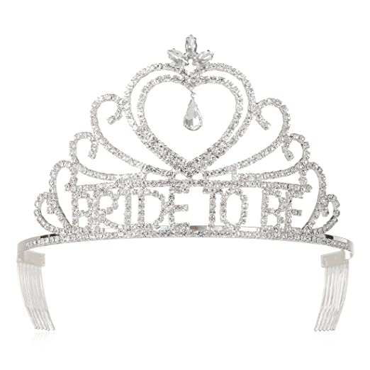 DcZeRong Bridal Shower Tiara Crown Bride To Be Bachelorette Party Crown Wedding Shower Tiara Crowns