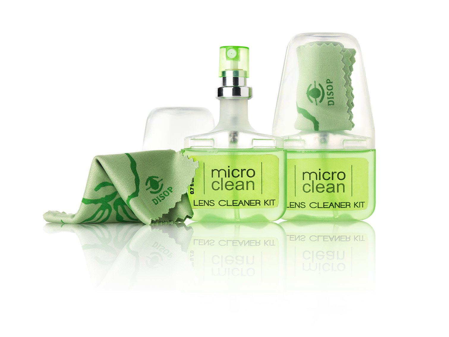Eyeglass Cleaner : Lens Cleaning Kit, Pack of 2 Spray Bottles (Pocket Size, 0.7 Fl. Oz.) with Microfiber Cloth, Ammonia & Alcohol Free, Apple Scented, Biodegradable, Made in Spain by Micro Clean