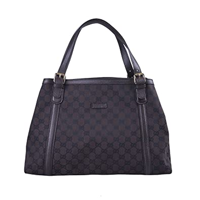 bb89706ab1a78c Amazon.com: Gucci Women's Brown Canvas Leather Trimmed Guccissima Print  Tote Shoulder Bag: Shoes