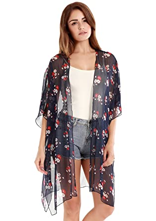 VESSOS Women Floral Printed Chiffon Swimsuits Cover Up Beach ...