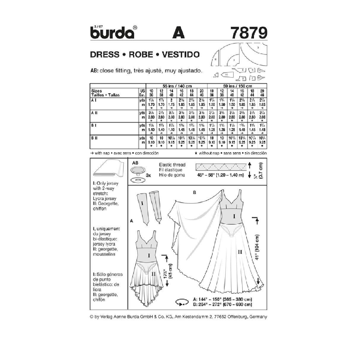 Amazon.com : Burda 7879 Pattern, Womens/Misses\' Fitted Dance Dress ...