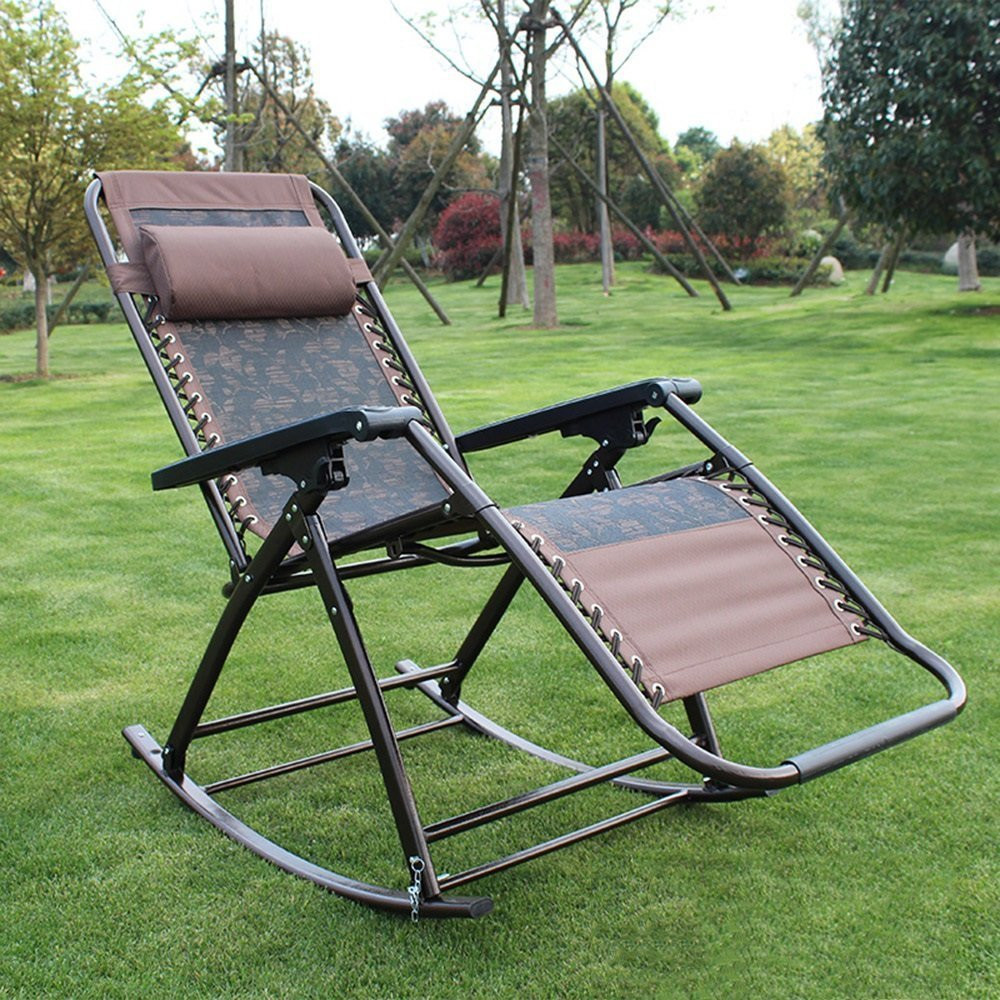 HOMEE Rocking chair adults can be folded for lunch happy chair office balcony beach chair old man back chair
