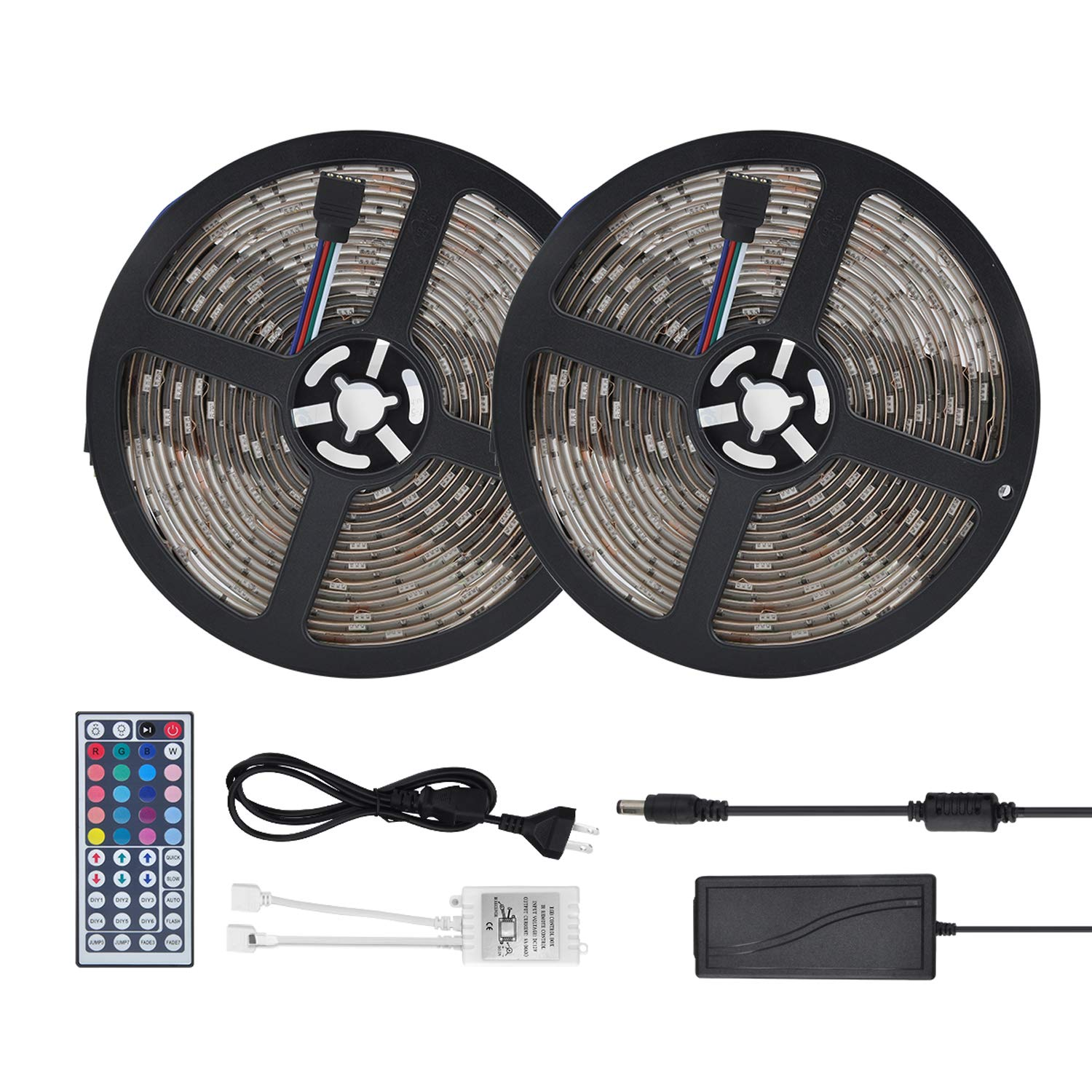 Waterproof LED Strip Lights 32.8ft (10m) RGB 300LEDs Color Changing 5050 Dimmable Multicolored LED Lights Kit with 44key Remote for Ceiling Bar Counter Cabinet Lighting by YUNSHANGAUTO