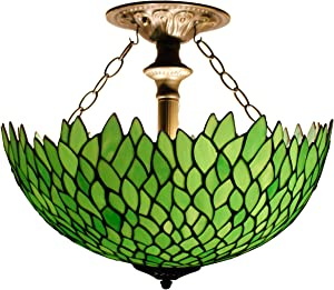 Tiffany Ceiling Fixture Lamp Semi Flush Mount Light W16H15 Inch Green Stained Glass Wisteria Shade S523 WERFACTORY Lover Living Room Bedroom Study Kitchen Office Coffee Island Bar Hallway Dining Room