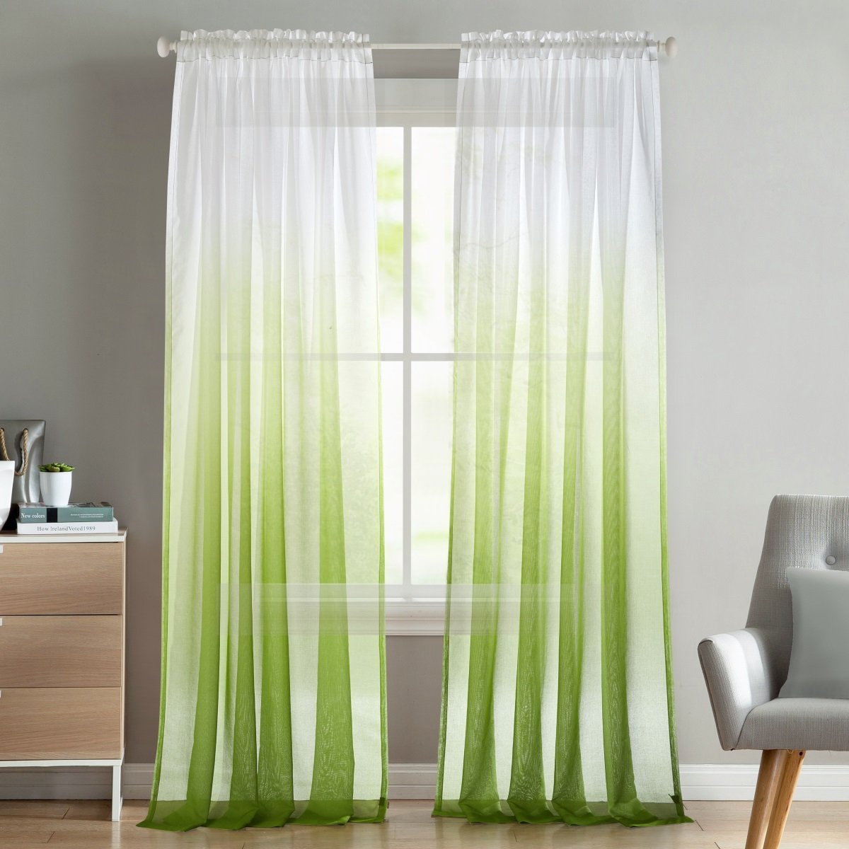 "LoyoLady Mint Shadow Gradient Voile Rod Pocket Sheer Curtains Drapes Window Treatment, Extra Size 100"" W x 84"" L, 1 Panel"