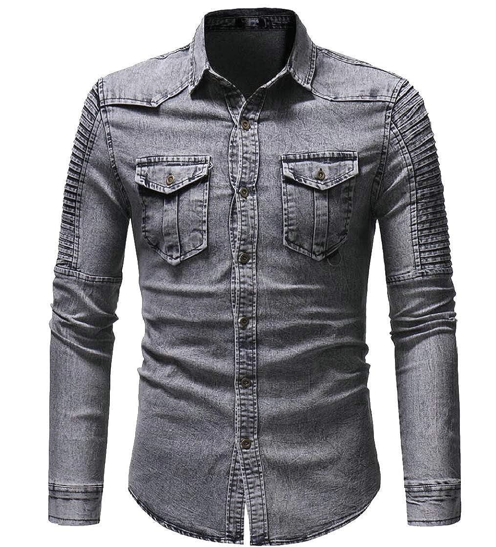 Gocgt Mens Classic Regular-Fit Denim Button Down Long Sleeve Shirt