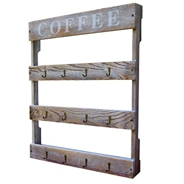 "DewBrew 12 Hook Coffee Cup Holder, Wall Mounted Rustic Mug Rack with Distressed Finish for Home Kitchen Storage and Organization (21.5"" x 2.6"" x 23.6"")"