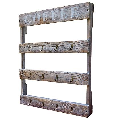 Amazoncom Dewbrew 12 Hook Coffee Cup Holder Wall Mounted Rustic