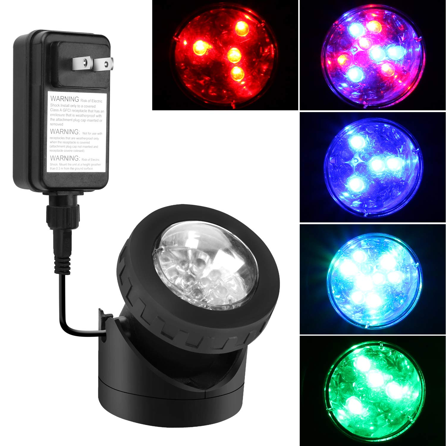 Underwater Light 12 1W RGB Color Changing LED Submersible Fountain Ring