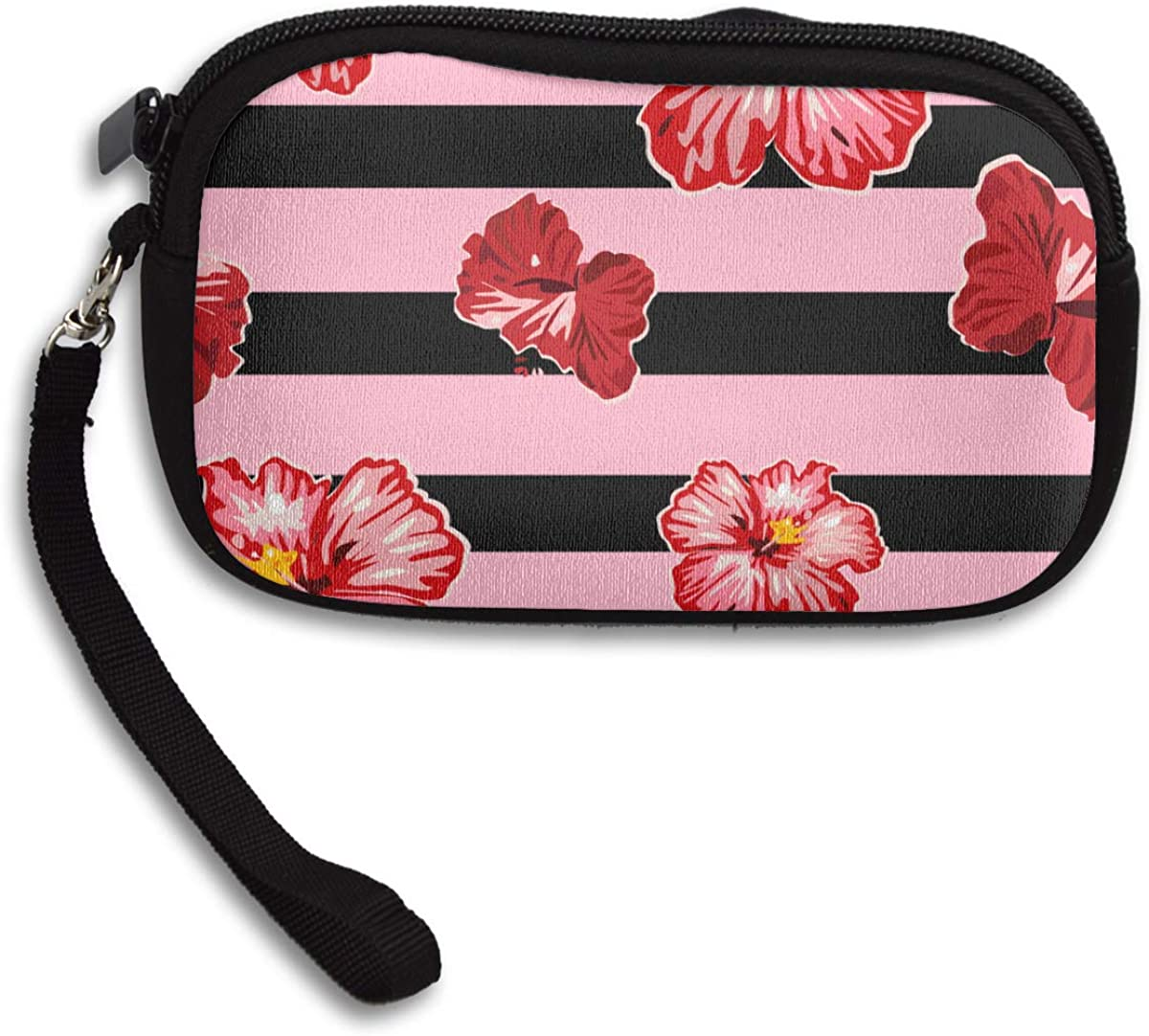 Pink Roses Deluxe Printing Small Purse Portable Receiving Bag