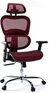 Office Chair, Ergonomics Mesh Chair Computer Chair Desk Chair High Back Chair w/Adjustable Headrest and Armrests - Red