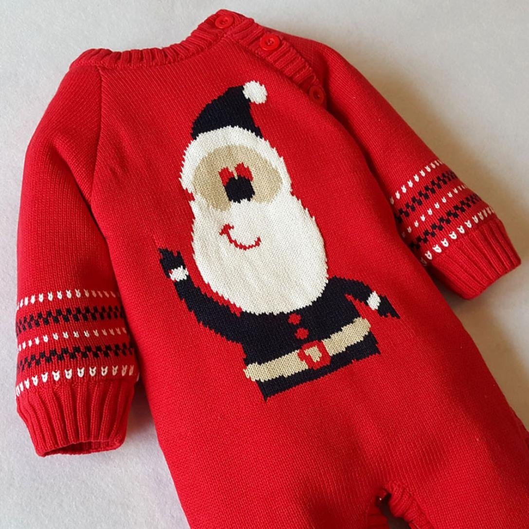 Sacow Baby Warm Rompers baby Sweater Christmas Santa Claus Plush Outwear