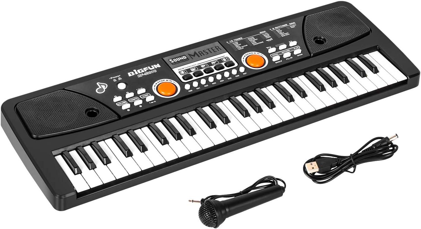 Teclado para Niños, m zimoon Niños Teclado de Piano Teclado Electrónico Portátil de 49 Teclas Instrumento Musical Piano con Microfono para Niños ...