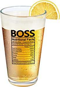 Boss Nutritional Facts Beer Glass, 15 Oz Funny Beer Pint Glass for Male Female Boss Coworker Manger, Unique Office Gift Idea for Bosses Day Christmas Birthday Farewell Leaving Job