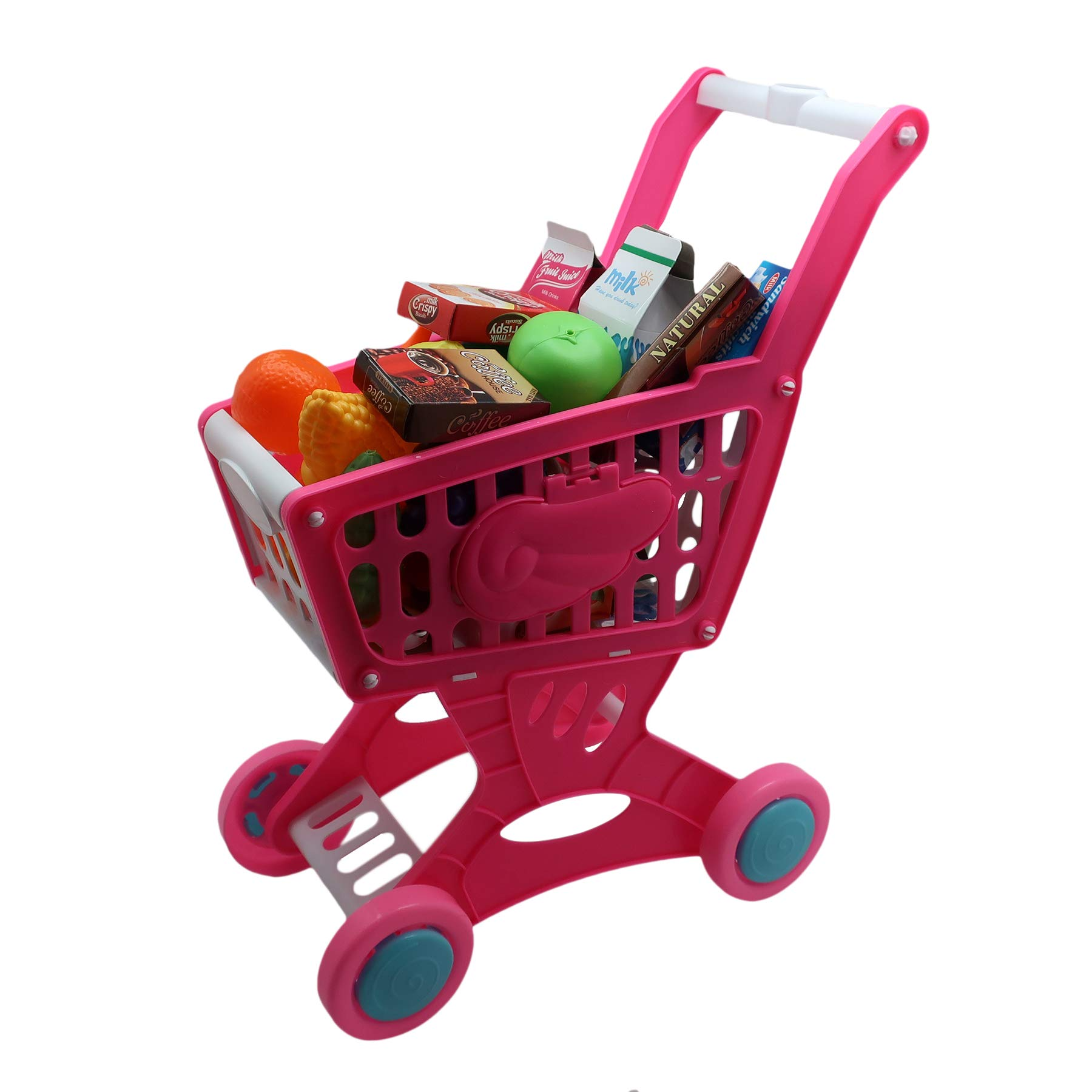 Pretend Play Kids Grocery Toy Shopping Cart with Grocery Items~Healthy Fruits & Vegetables~Juice & Other Food Items~Great Gift for Boys and Girls!