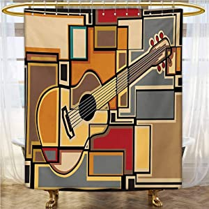 Music Hotel Style Shower Curtain 60x72 INCH Funky Fractal Geometric Square Shaped Background with Acoustic Guitar Figure Art Waterproof&Colorful&Funny Multicolor