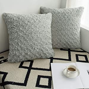 Valea Home Faux Fur Throw Pillow Covers for Couch Luxury Soft Plush Decorative Cushion Cover Pillowcase, 20 x 20 inches, Pack of 2, Grey
