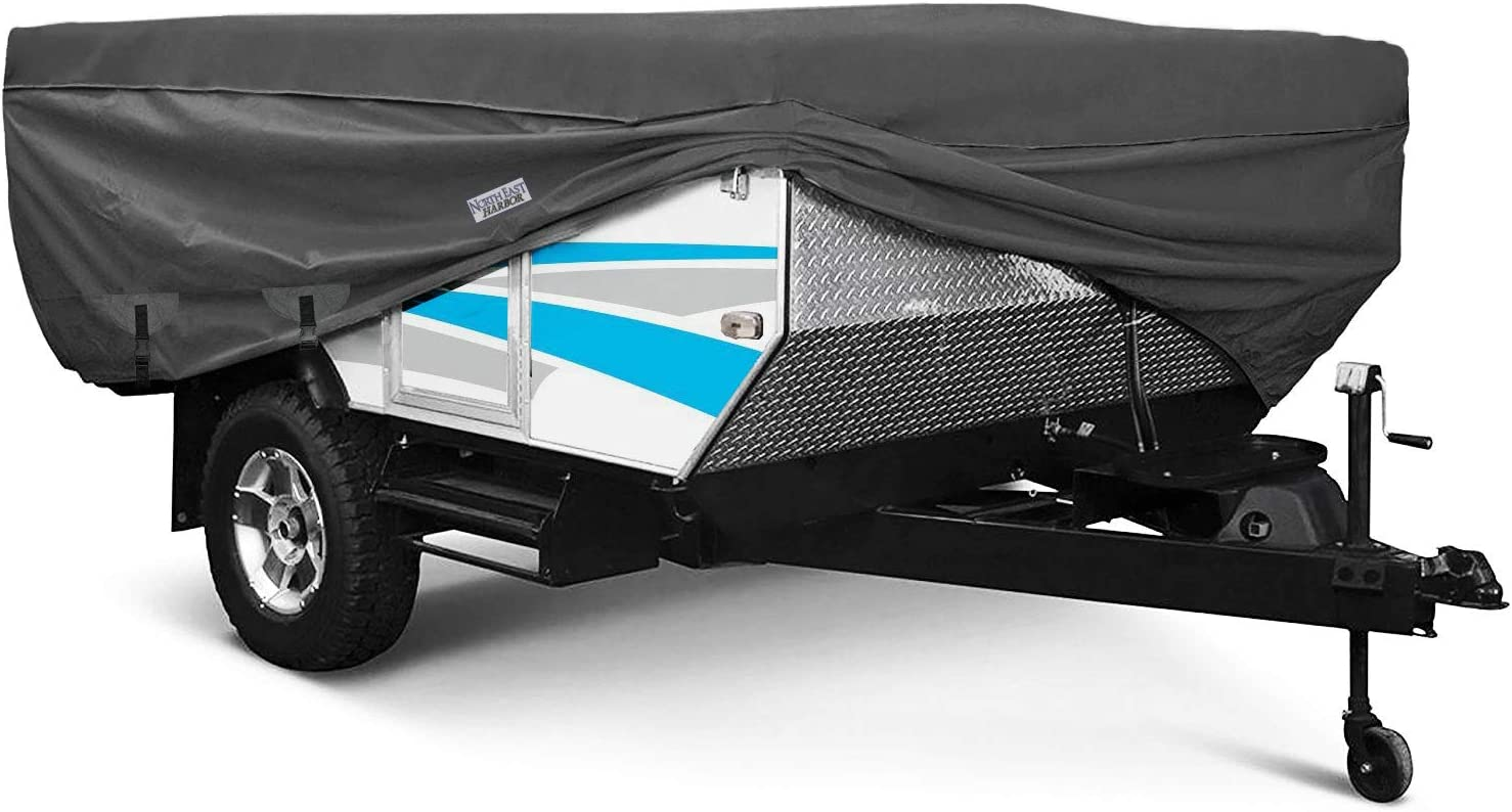 North East Harbor Waterproof Durable Folding Camping Travel Trailer Storage Cover Fits Length Up to 8.5 300D Polyester Fabric Pop-Up Tent Trailers Cover 108 L x 85 W x 42 H