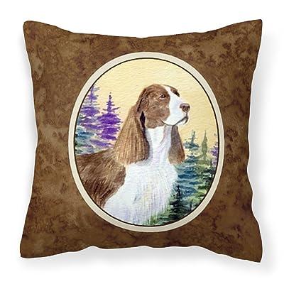 Caroline's Treasures SS8105PW1414 Springer Spaniel Decorative Canvas Fabric Pillow, 14Hx14W, Multicolor : Garden & Outdoor