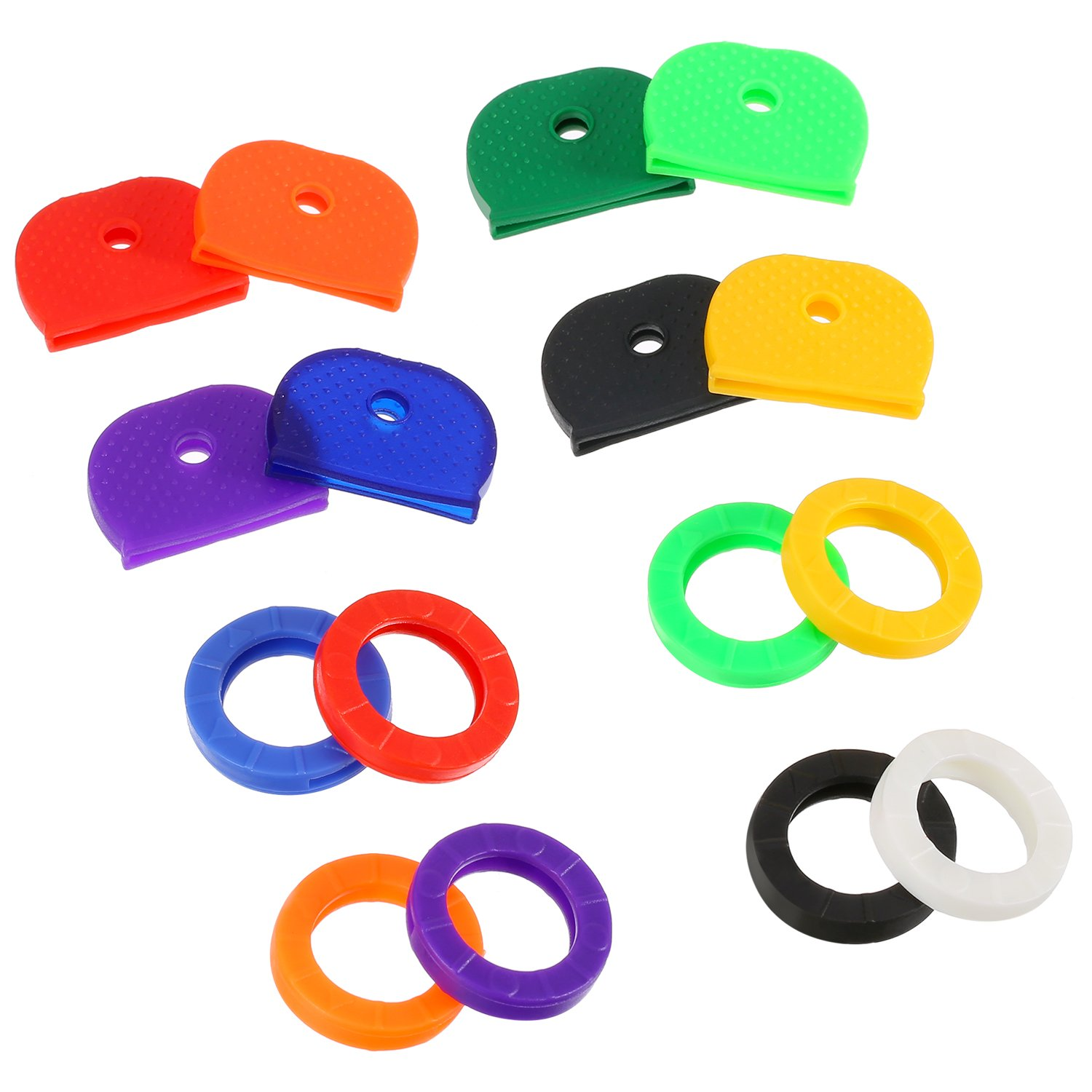 64 Pieces Key Cap Key Identifier Tag Covers Ring Labels Rubber Keycaps, Assorted Color Bememo