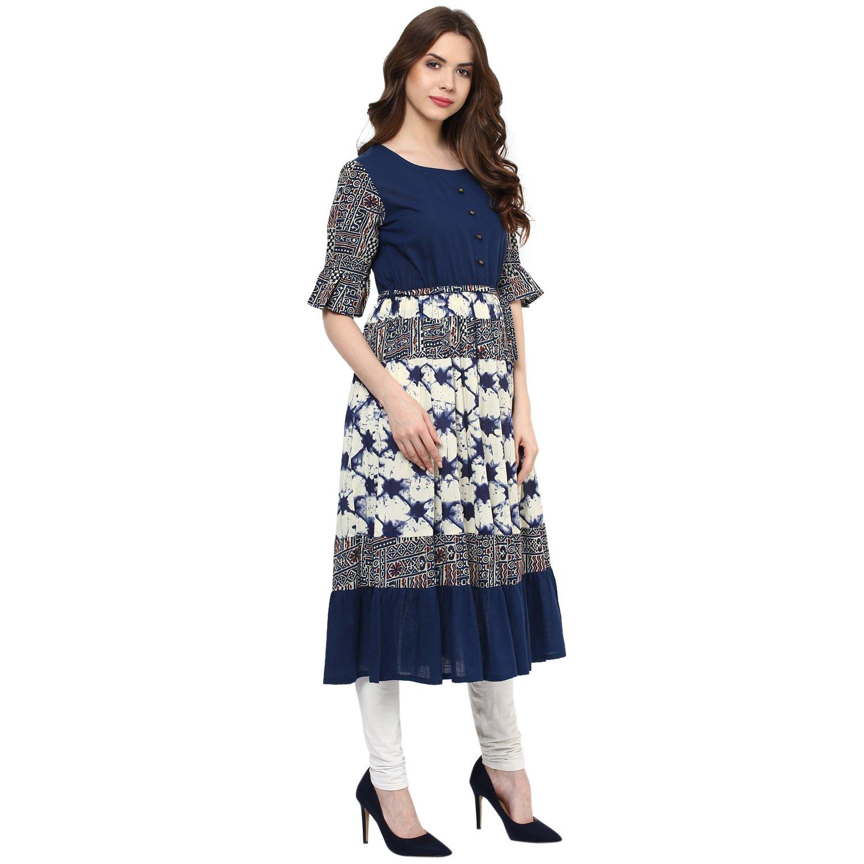 Indian Virasat Womens Printed Anarkali Kurti Tunic With Calf Length Medium Blue by Indian Virasat (Image #4)