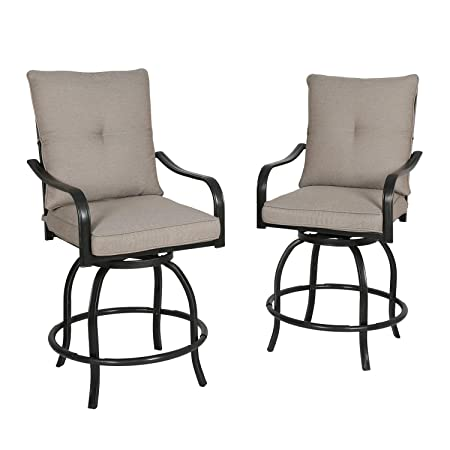 Iwicker 2 Piece Outdoor Swivel Bistro Bar Stool