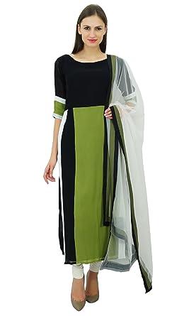 c2e6b05738 Atasi Straight Long Kurta with Dupatta Salwar Kameez Indian Ethnic Kurti  Dress