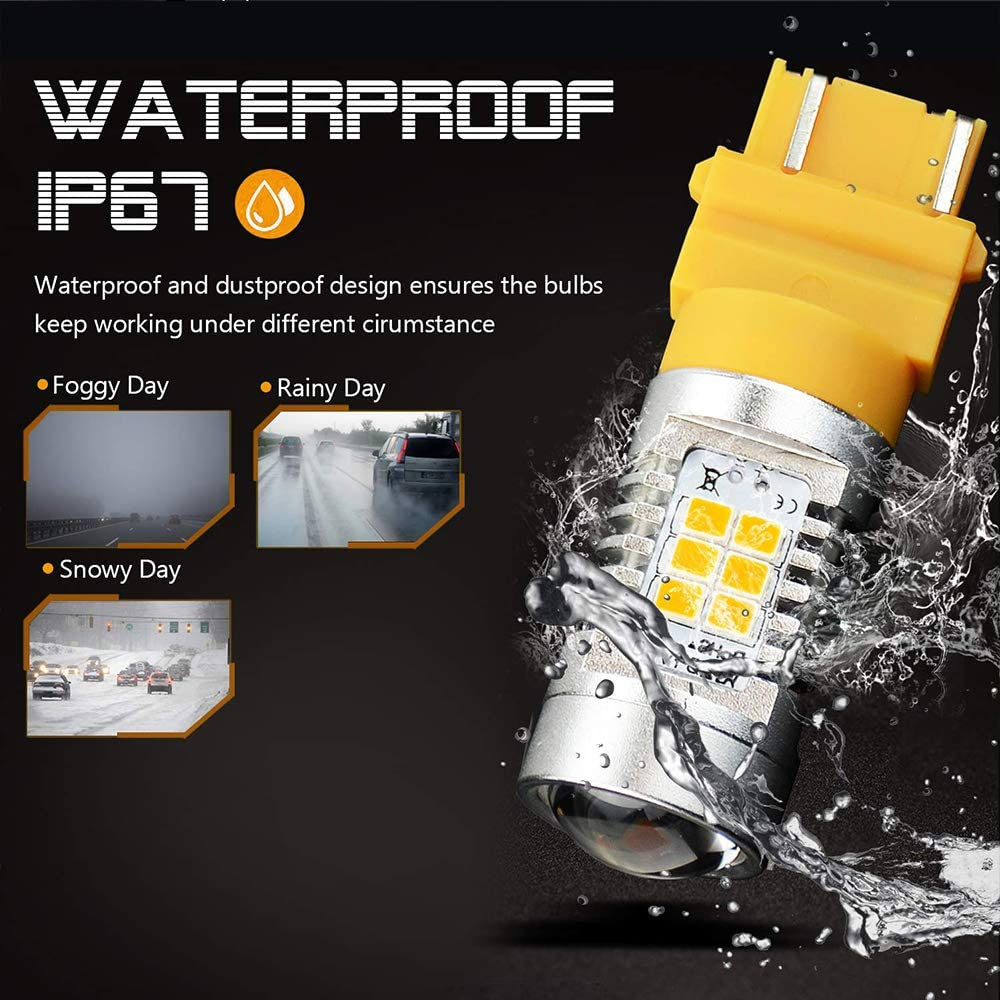 1260 Lumens Extremely Bright PX Chips 3057 3156 3157 4057 4157 Amber Yellow Turn Signal LED Bulbs