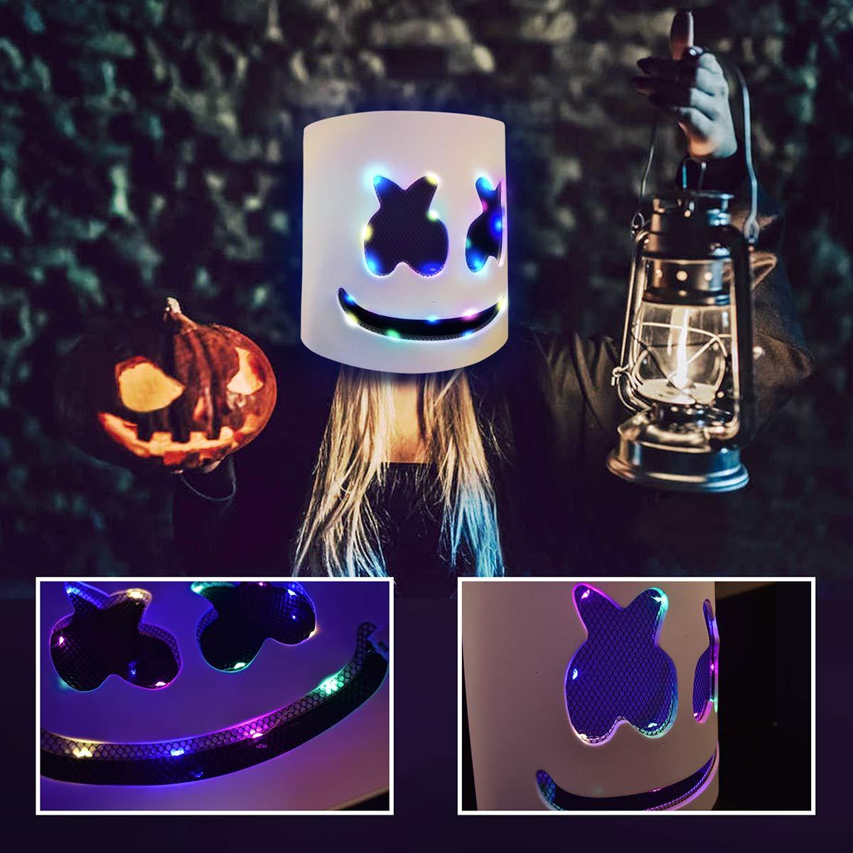 WeGuard DJ Mask Full Head Mask LED Helmets for Music Festival Costume Party