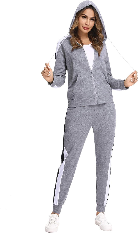 Hawiton Conjunto de ch/ándal para Mujer de algod/ón Invierno Conjunto de Sudadera Mujer Larga con Chaqueta y Pantalon para Fitness Jogger Tenis Tallas Grandes 2piezas