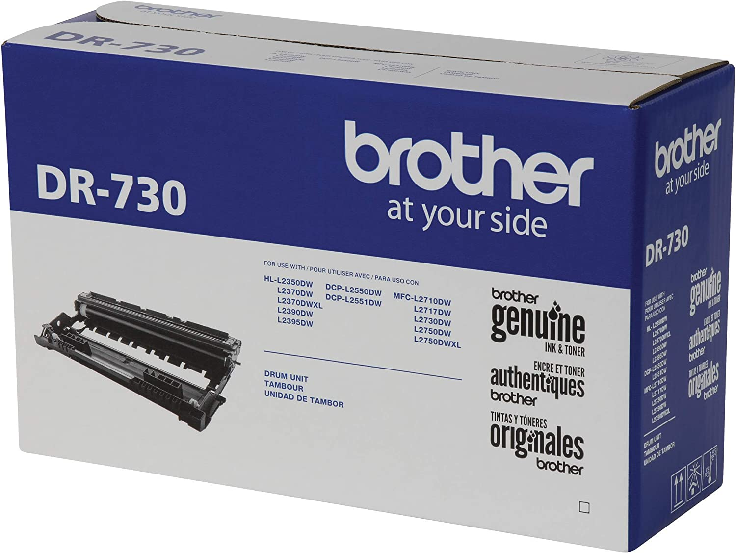 DR730 Brother Genuine Drum Unit Drum unit, NOT toner Yields Up to 12,000 Pages Seamless Integration Black