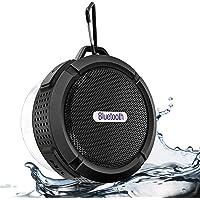 2019 Nuovo altoparlante Bluetooth portatile, altoparlante Bluetooth impermeabile con riproduzione 6h, audio HD potente, ventosa e gancio solido, compatibile con iOS, Android, PC, Pad (Black-2)