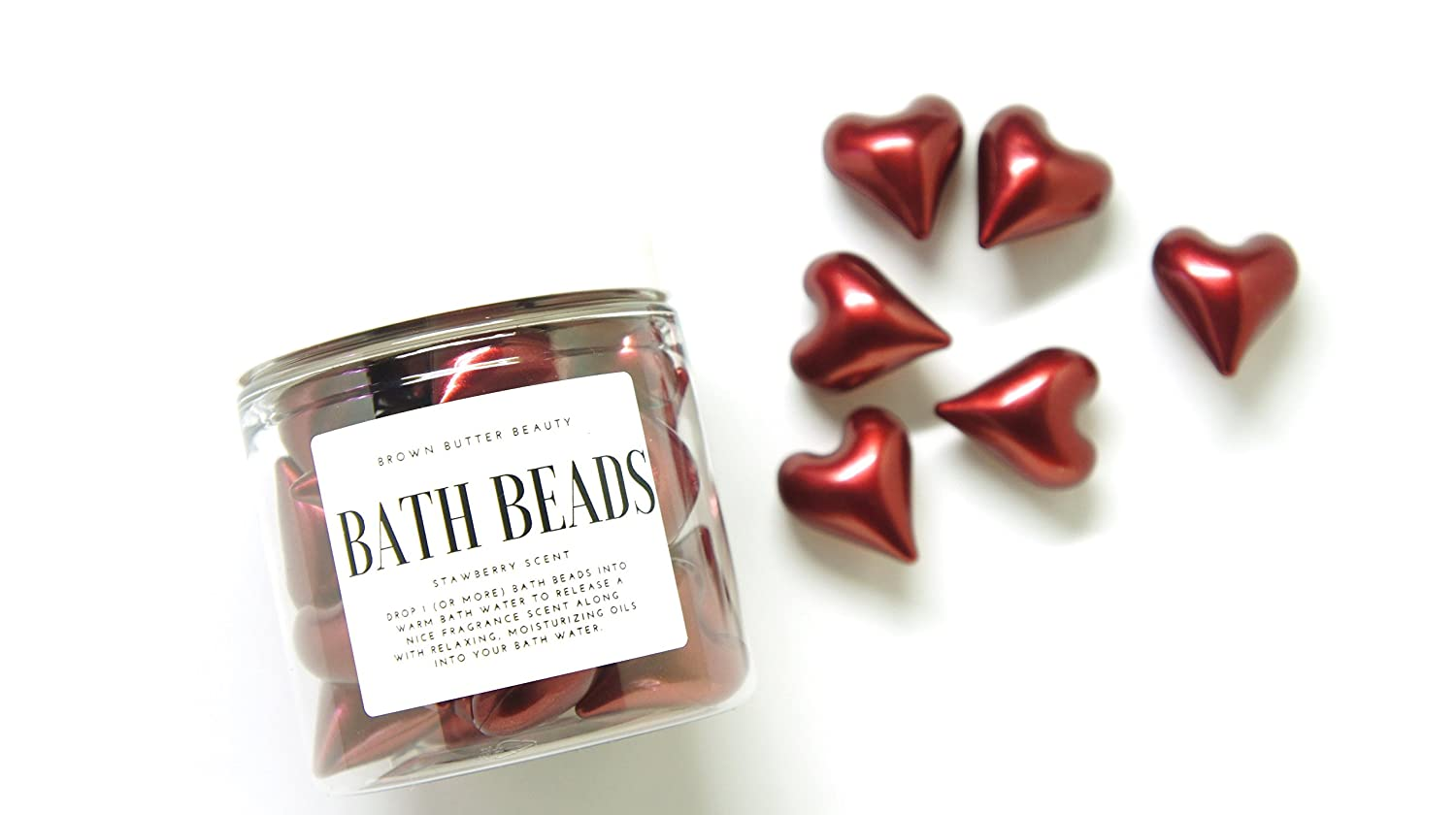 Bath Oil Beads | Bath Beads Pearls | Bath Beads for Woman | Bath Beads Moisturizing | Red Heart Shaped | Strawberry Scent Brown Butter Beauty