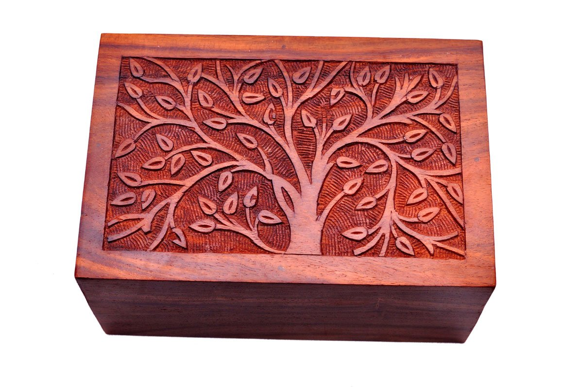 Pet Memory Shop Urn for Pets - Hand-Carved Rosewood Urn - Classic Wooden Series for Dogs, Cats, and Animals (Hand-Carved Memory Tree, Small)