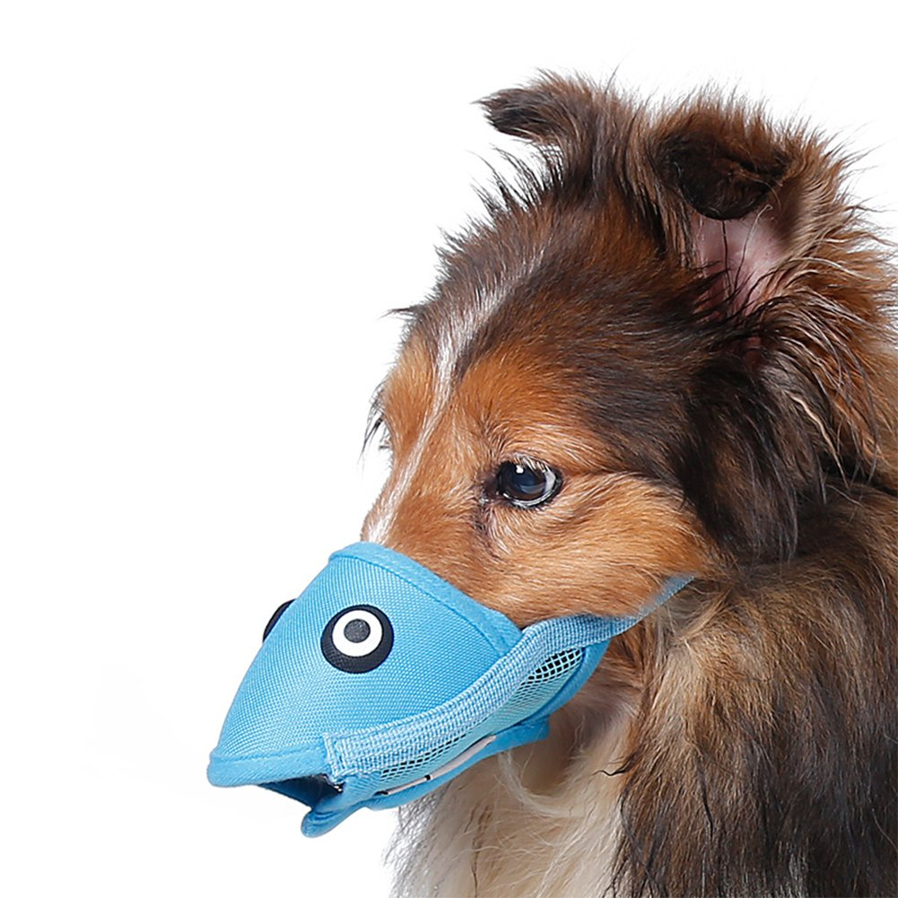 NACOCO Dog Muzzle Mask Bird Creative Breathable Oxford Pet Mouth Cover for Anti bite Anti bark Safety Protection (M, Blue)