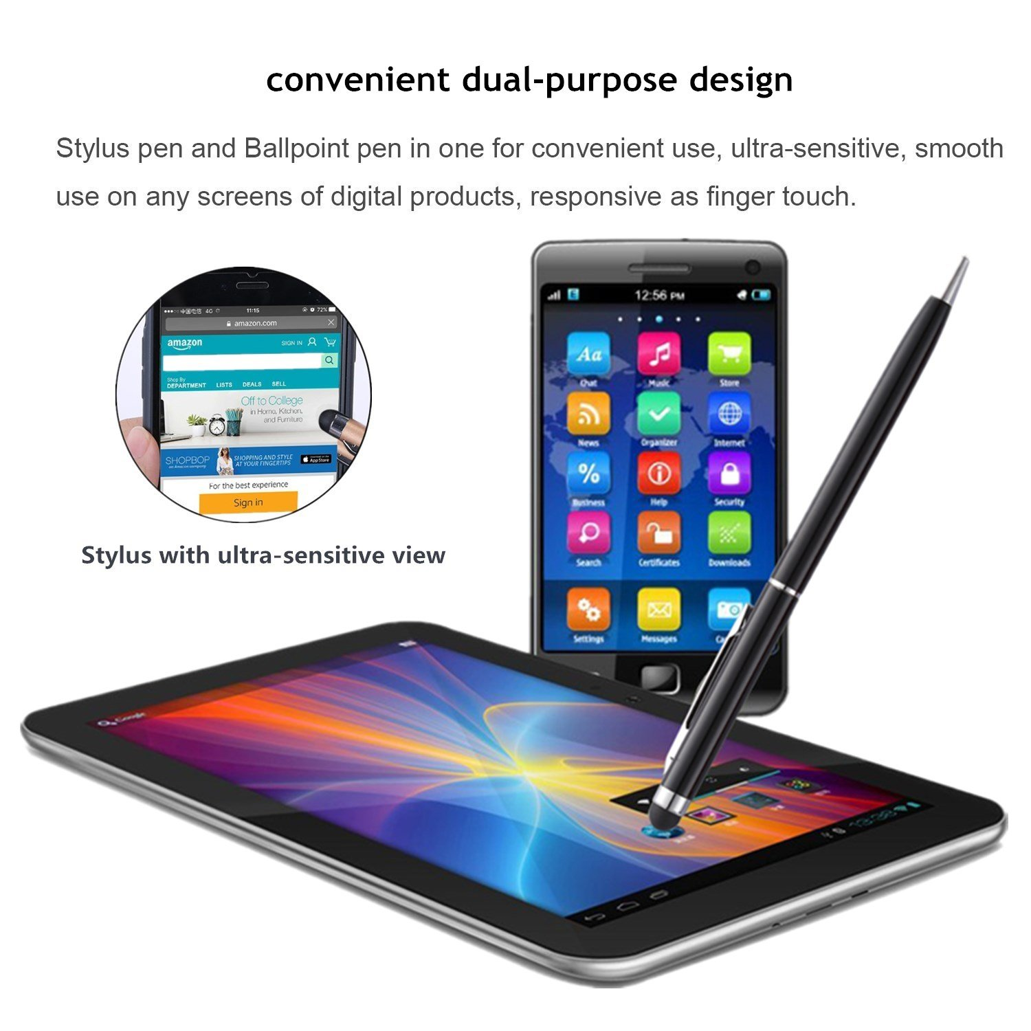 Stylus Pen for iPad anngrowy Stylus Pens for Tablets 2 in 1 Slim Capacitive Ballpoint Pen for Mobile Phones Universal Touch Screens Devices Stylus Pens for Laptops Kindle Samsung
