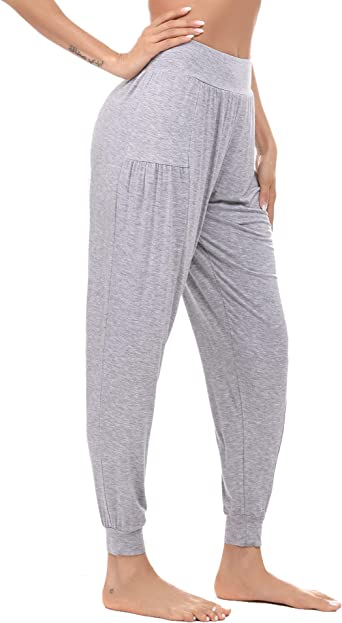 Akalnny Pantalones De Yoga Algodon Mujer Ancho Con Cintura Alta Pantalon Suelto De Deporte Fitness Jogger Gimnasio Comodo Amazon Es Ropa Y Accesorios