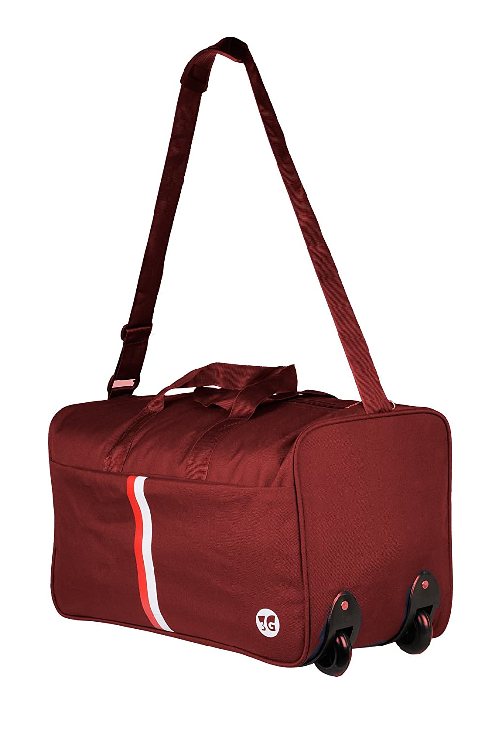 3G Polyester 1200 Cms Maroon-Grey Soft Sided Suitcase & Trolley Bag