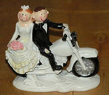 Dekoratives Hochzeitspaar Brautpaar Auf Motorrad 8x8cm Tortenfigur