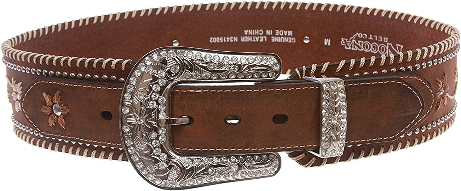 BBBelts Women 2-1//4 Brown Leather Floral Embroidery Riveted Silver Buckle Belt