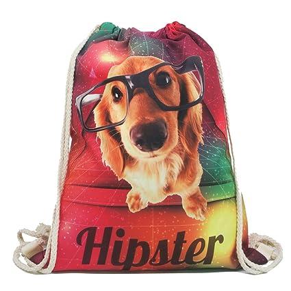 Artone Hipster Gafas Perro Gradiente Poliéster Lazo Bolso Viajar Daypack Deportes Portable Mochila Rojo