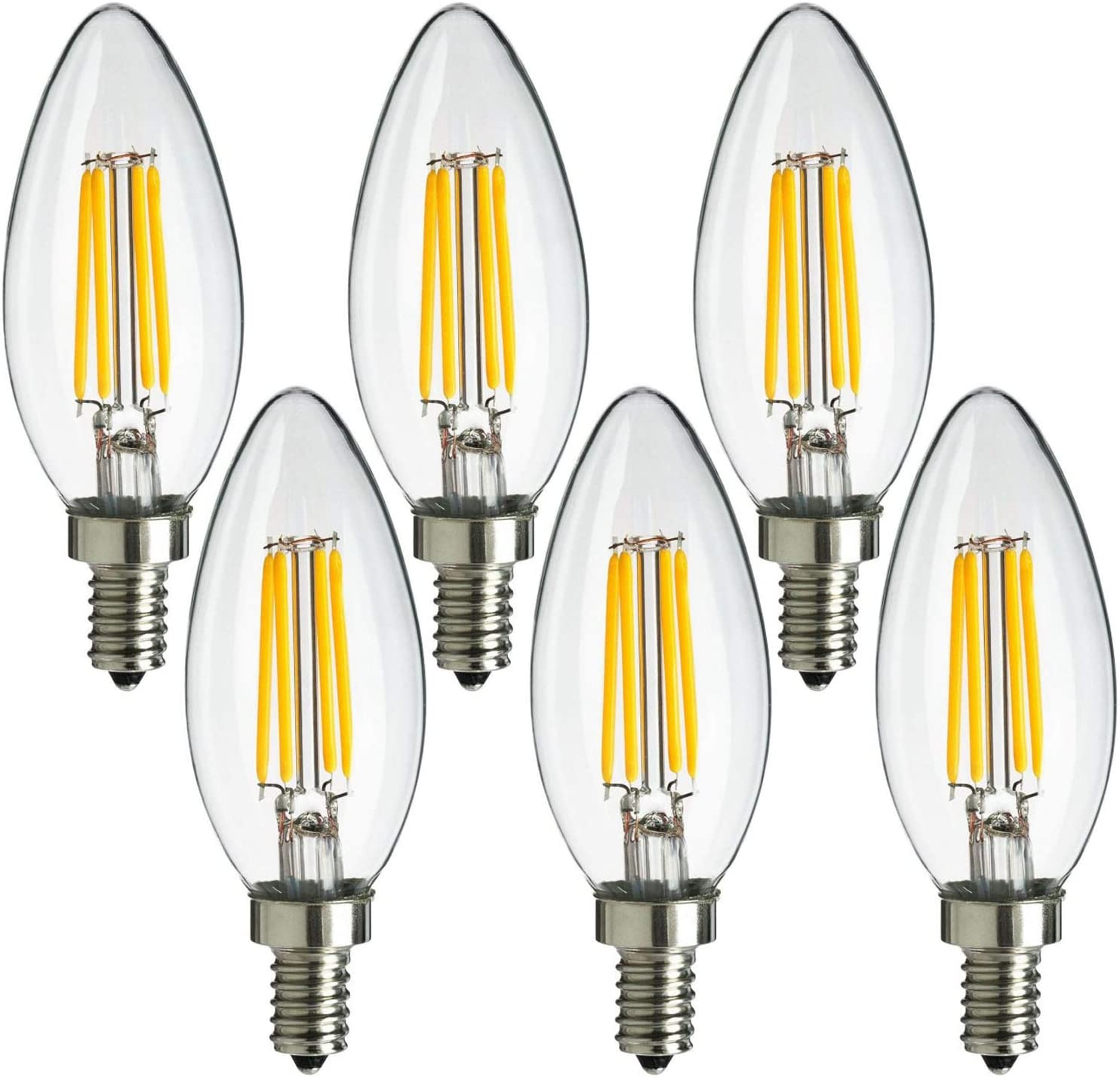 2700K Soft White 40W Equivalent Wet Rated MaxLite Candelabra LED Chandelier Bulbs Enclosed Fixture Rated 6-Pack Dimmable Filament Candle Bulbs Energy Star E12 Base 300 Lumens